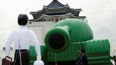 Balloon 'Tank Man' in Taiwan marks 30 years since Tiananmen crackdown