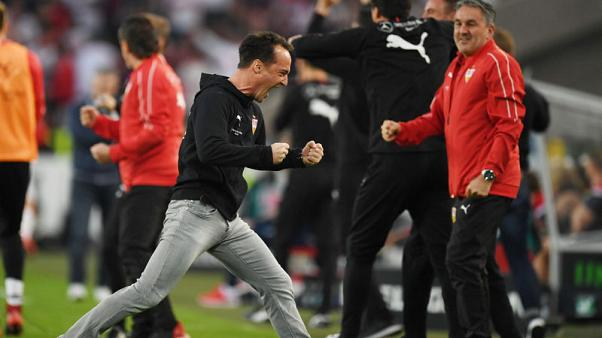 Soccer - Stuttgart held by battling Union Berlin in playoff first leg
