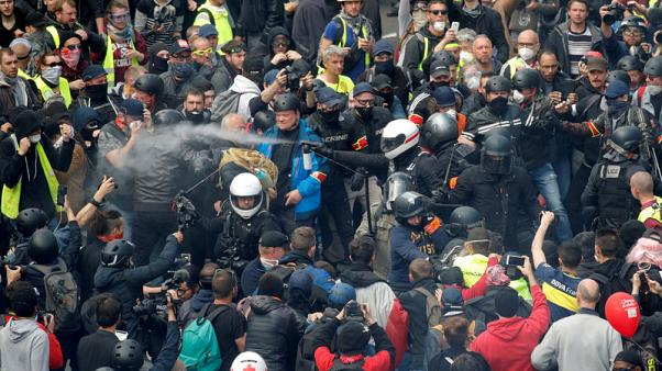 French yellow vest protesters clash with police but numbers wane