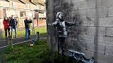 Banksy ash mural moved from garage to gallery in Welsh town
