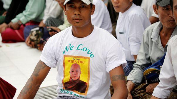 Hardline Myanmar monk's supporters protest arrest warrant