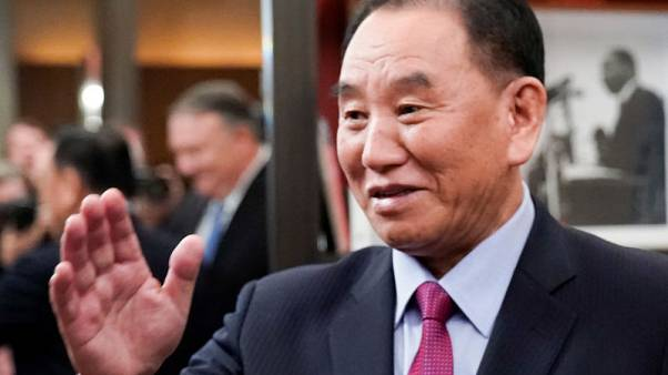 North Korea's former top nuclear envoy seen with Kim Jong Un on Sunday - KCNA