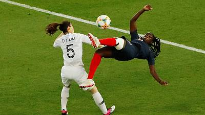 Blue, white and red Paris celebrates women's World Cup kick off