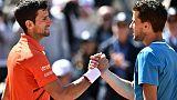 Djokovic (g) stoppé par Thiem qui rejoint Nadal en Finale le 8 juin 2019