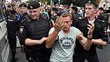 L'opposant russe Alexeï Navalny a été arrêté par la police lors d'une marche à Moscou, le 12 juin 2019, en soutien au journaliste Ivan Golounov