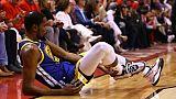 Kevin Durant des Golden State Warriors blessé durant le match 5 de la finale NBA face aux Raptors, à Toronto, le 10 juin 2019