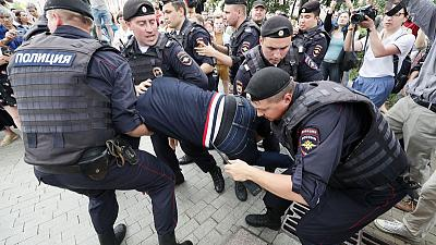Russian police say they detain over 200 at Moscow journalist protest