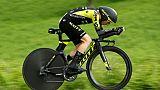 Le Britannique Adam Yates lors d'un contre-la-montre, le 19 mai 2019 au Giro