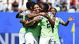 La joie des Nigérianes après le but contre leur camp des Sud-Coréennes, lors du Mondial, le 12 juin 2019 à Grenoble