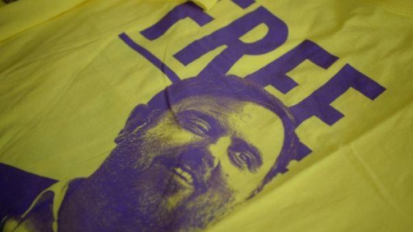 L'effigie d'Oriol Junqueras sur un T-shirt demandant sa libération, le 14 juillet 2018 à Barcelone