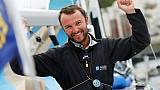 Le navigateur français Adrien Hardy, 2e de la Solitaire du Figaro, à son arrivée le 23 juin 2017 à Dieppe