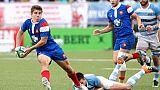 Le Français Louis Carbonel (g) lors du match contre l'Argentine au Mondial des moins de 20 ans, le 12 juin 2019 à Rosario (Argentine)