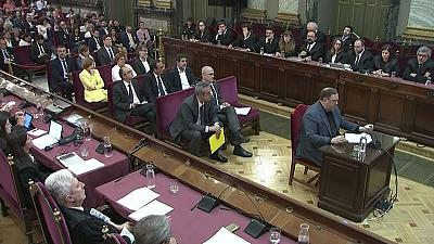 Catalan leaders deny violence, call for dialogue as trial nears end