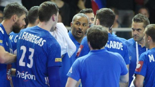 Le sélectionneur de l'équipe de France de handball, Didier Dinart, lors d'un match contre le Portugal, 14 avril 2019 à Strasbourg