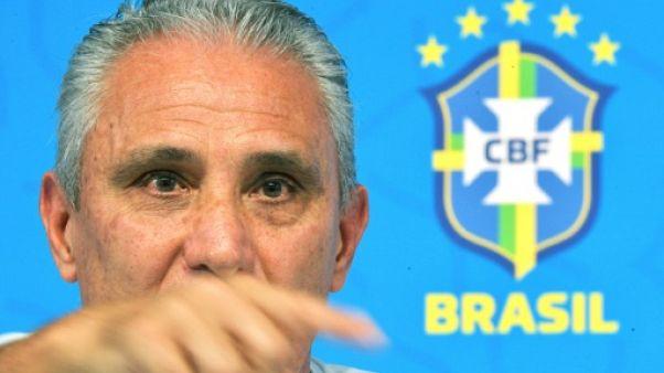 Le sélectionneur du Brésil, Tite, en conférence de presse à Teresopolis, le 3 juin 2019