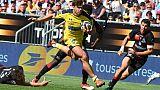 Le jeune ailier de l'ASM Clermont Damian Penaud contre Lyon en demi-finale du Top 14, le 9 juin 2019 au Matmut Atlantique de Bordeaux