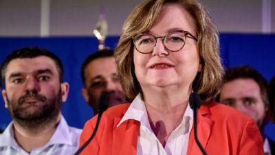 Nathalie Loiseau, chef de file des eurodéputés macronistes, au soir des élections européennes à la Mutualité à Paris, le 26 mai 2019