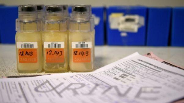 Un échantillon d'urine avant une analyse au laboratoire de l'Agence française de lutte antidopage, le 15 décembre 2015 à Chatenay-Malabry