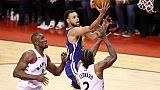 Stephen Curry des Golden State Warriors lors du match 5 des finales NBA face aux Raptors, à Toronto, le 10 juin 2019
