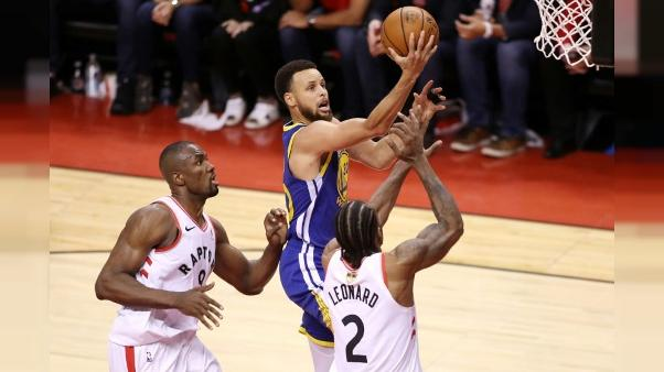 Stephen Curry des Golden State Warriors lors du match 5 des finales NBA face aux Raptors, à Toronto, le 10 juin 2019