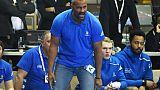 Le sélectionneur de l'équipe de France de handball Didier Dinart lors d'un match de qualification pour l'Euro-2020 contre le Portugal, le 14 avril 2019 à Strasbourg