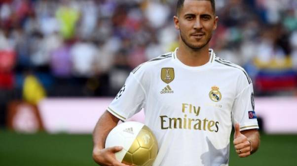 La recrue belge Eden Hazard lors de sa présentation officielle au Real Madrid, le 13 juin 2019 au stade Santiago-Bernabeu