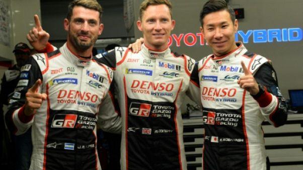 De gauche à droite, le pilote argentin José Maria Lopez, le Britannique Mike Conway et le Japonais Kamui Kobayashi (Toyota TS050 Hybride LMP1 N°7), au Mans, le 14 juin 2019