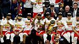 Les Toronto Raptors champions de la NBA après leur victoire sur les Golden State Warriors en finale, à Oakland, le 13 juin 2019