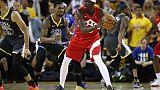 Pascal Siakam (d) des Toronto Raptors lors du match 6 de la finale NBA face aux Golden State Warriors, à Oakland, le 13 juin 2019