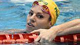 L'Australienne Emily Seebohm après le 100 dos aux Championnats pan-pacifiques, à Tokyo, le 10 août 2018