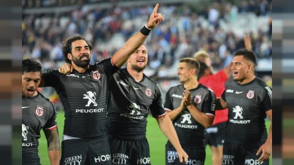 Les Toulousains savourent leur qualification pour la finale du Top 14 à l'issue de  leur victoiure sur La Rochelle à Bordeaux, le 8 juin 2019