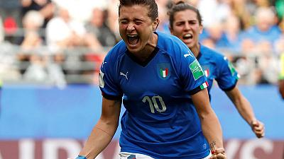 Girelli treble helps Italy thrash Jamaica to reach last 16