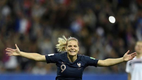 L'attaquante de l'équipe de France, Eugénie Le Sommer, buteuse lors du match de phase de groupes du Mondial face aux Norvégiennes, à Nice, le 12 juin 2019