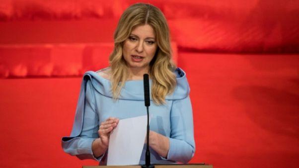 La nouvelle présidente slovaque Zuzana Caputova prononce son discours d'investiture à Bratislava le 15 juin 2019
