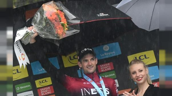 Le Néerlandais Wout Poels vainqueur de la 7e étape du Dauphiné le 15 juin 2019