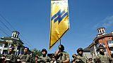Le régiment Azov de l'armée ukrainienne lors d'un défilé militaire le 15 juin 2019 à Marioupol