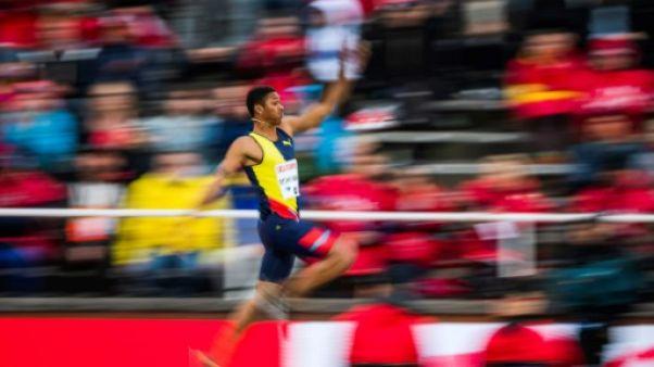 Le Cubain Juan Miguel Echevarria au saut en longueur lors du meeting de Stockholm, le 30 mai 2019