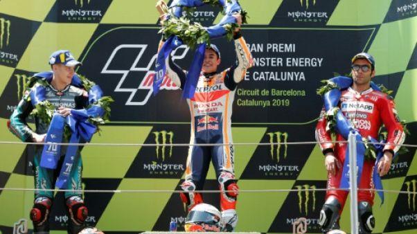 L'Espagnol Marc Marquez (c) remporte le GP de Catalogne devant le Français Fabio Quartararo et l'Italien Danilo Petrucci le 16 juin 2019