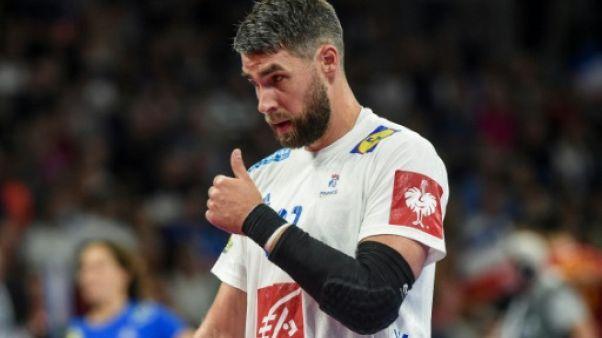 Le Français Luka Karabatic lors de la victoire sur la Roumanie 34-25 à Nantes en qualifications pour l'Euro le 16 juin 2019
