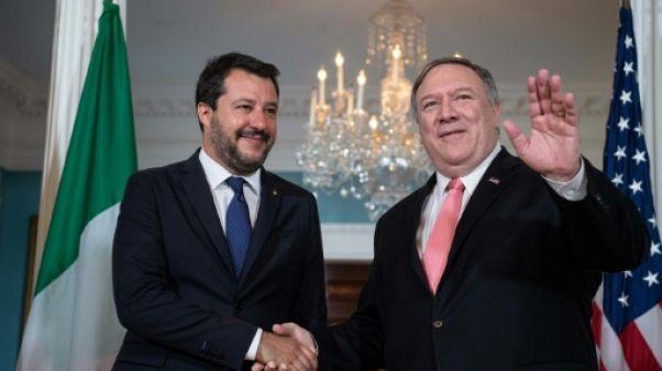 Le secrétaire d'Etat américain Mike Pompeo (à droite) a accueilli le vice-Premier ministre italien Matteo Salvini, le 17 juin 2019 à Washington