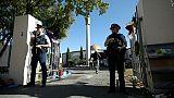 La police monte la garde devant la mosquée Al-Nour de Christchurch, le 3 mai 2019 en Nouvelle-Zélande