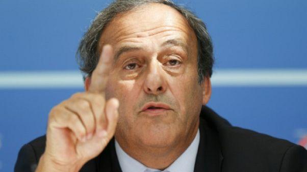 Michel Platini, placé mardi en garde à vue, lors d'une conférence de presse le 28 août 2015 à Monaco lorsqu'il était encore à la tête de l'UEFA