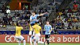 Les tribunes très clairsemées du stade Mineirao de Belo Horizonte (Brésil) lors du match entre l'Uruguay et l'Equateur le 16 juin 2019