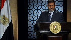 Photo d'archives du 25 juin 2012 de Mohamed Morsi après son élection à la tête de l'Egypte, dans les locaux de la télévision d'Etat au Caire