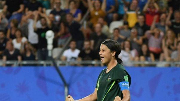 L'attaquante de l'Australie Samantha Kerr inscrit 4 buts et envoie l'Australie en 8e de finale du Mondial le 18 juin 2019