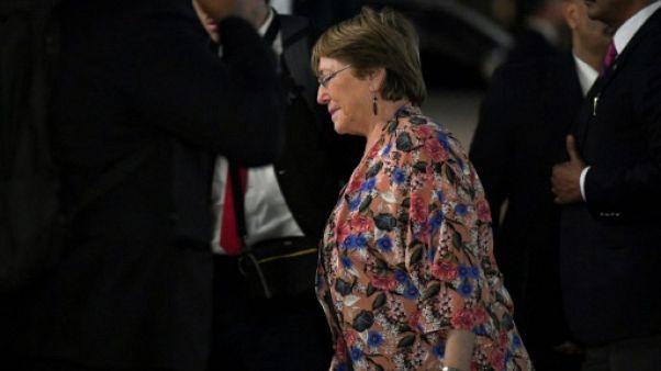 La Haut-Commissaire de l'ONU aux droits de l'Homme, Michelle Bachelet arrive au ministère des Affaires étrangères, le 19 juin 2019 à Caracas, au Venezuela