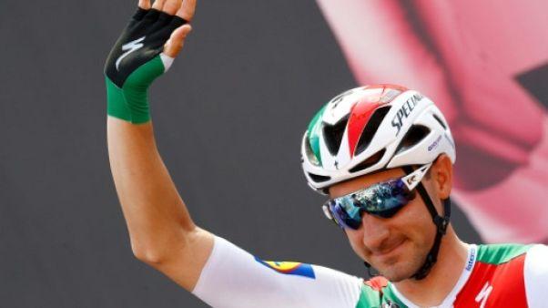 L'Italien Elia Viviani au départ de la 11e étape du Giro, le 22 mai 2019 à Carpi (Italie)