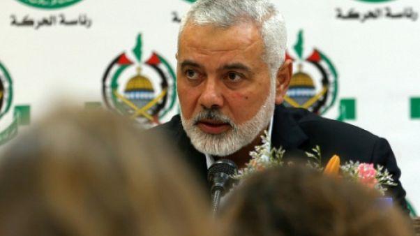 Le chef du mouvement islamiste palestinien Hamas, Ismail Haniyeh, lors d'une conférence de presse dans le bande de Gaza, le 20 juin 2019