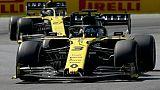 L'Australien Daniel Ricciardo à bord d'une Renault RS19 devant l'Allemand Nico Hulkenberg, également dans une Renault RS19, lors du GP du Canada, à Montréal, le 9 juin 2019