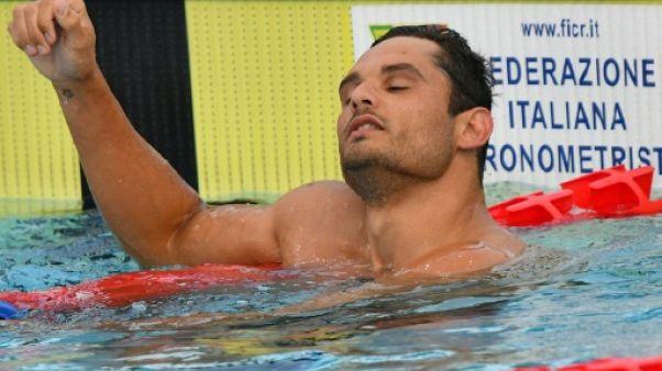 Le Français Florent Manaudou 2e du 50 m nage libre à Rome le 21 juin 2019